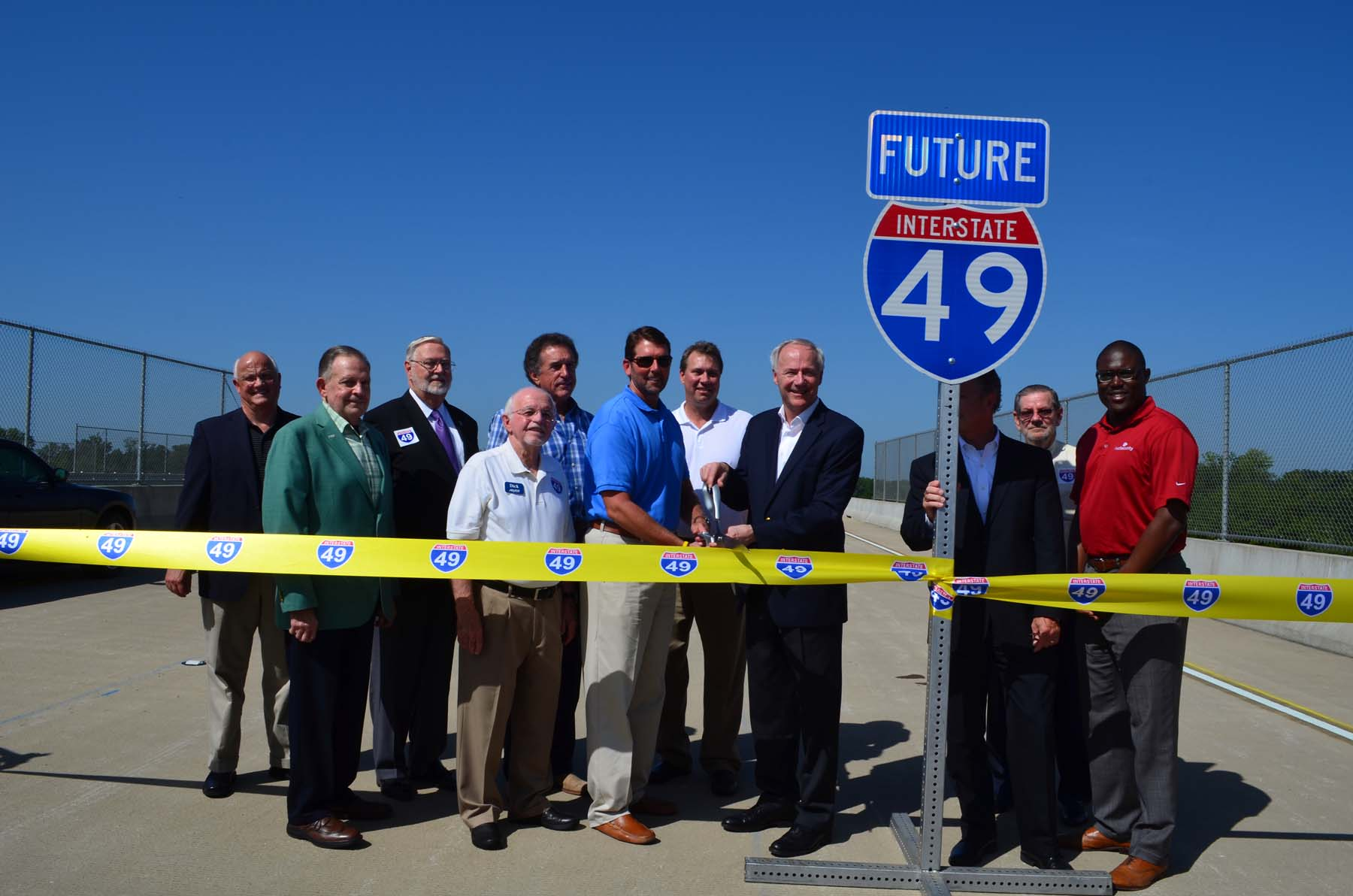 I-49 International Coalition members gathered for the opening of I-49 across the AR/LA border on Nov. 10, 2014.